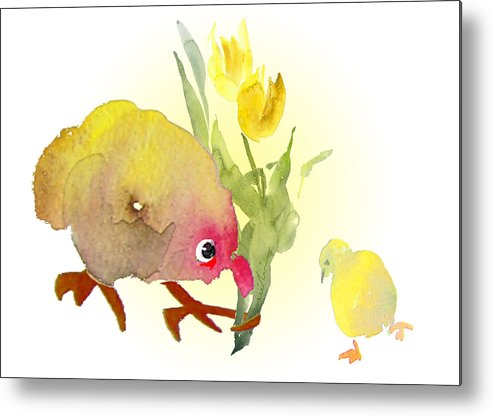 Love Greeting Cards Metal Print featuring the painting You Are The Cutest Thing Ever by Miki De Goodaboom
