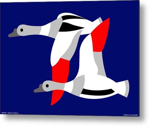 Metal Print featuring the digital art The Flying Ducks by Asbjorn Lonvig
