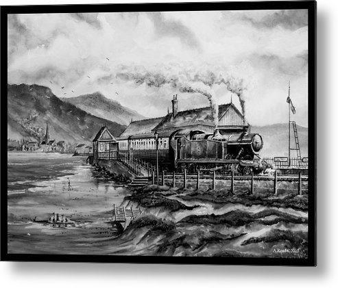Train Metal Print featuring the painting A Day At The Seaside by Andrew Read
