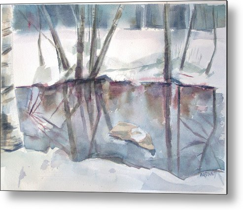 Maine Metal Print featuring the painting Ditch Pool April by Grace Keown