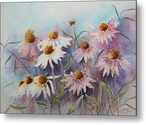 Floral Metal Print featuring the painting White And Pink Coneflowers by Patsy Sharpe