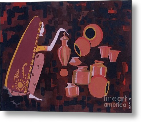 Potter Woman Pots Creations Shapes Brown Earthen Design Forms Metal Print featuring the painting Potter by Vilas Malankar