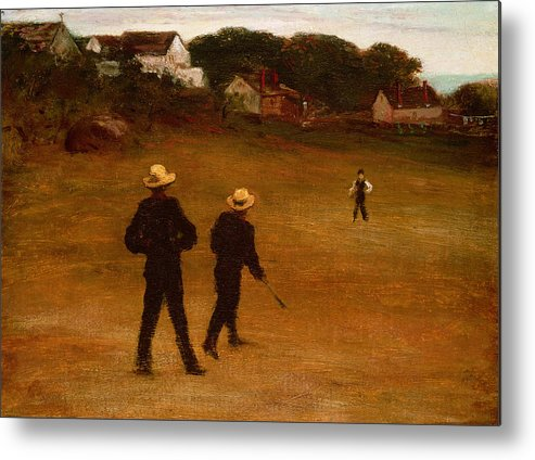 The Metal Print featuring the painting The Ball Players by William Morris Hunt