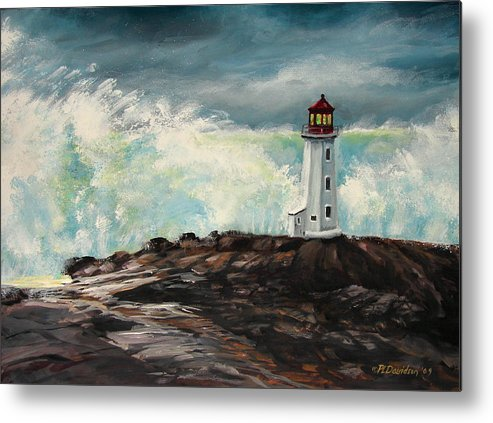 Peggys Cove Lighthouse Art Metal Print featuring the painting Peggy's Cove Lighthouse Hurricane by Patricia L Davidson