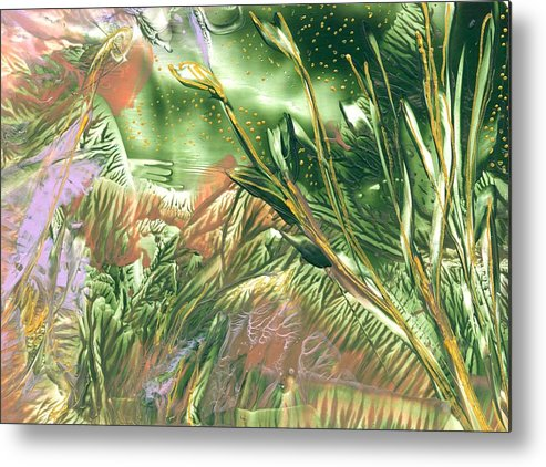 Abstract Encaustic Metal Print featuring the painting A Secret Forest by Heather Hennick