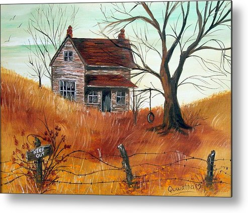 Landscape Metal Print featuring the painting Abandoned Farmhouse by Quwatha Valentine