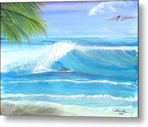 Dolphin Surfing Metal Print featuring the mixed media After Lunch Session by Laura Johnson