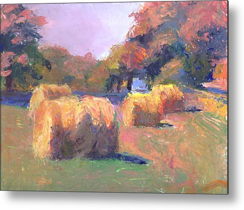 Landscape Metal Print featuring the painting Airmont Hay Bales Morning by Timothy Chambers