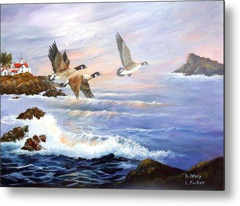 Aleutian Geese /lighthouse Metal Print featuring the painting Aleutian Geese With Lighthouse by Lynne Parker