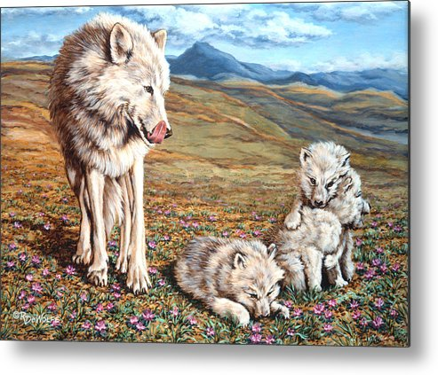 Arctic Wolf Metal Print featuring the painting Arctic Summer by Richard De Wolfe