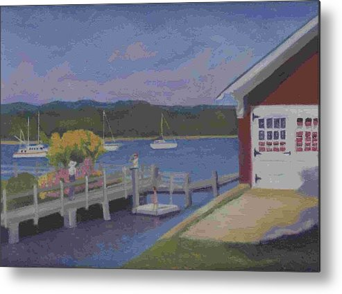 Landscape Metal Print featuring the painting At The Dock by Paula Emery