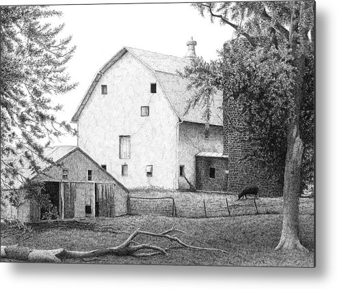 Manilla Metal Print featuring the drawing Barn 23 by Joel Lueck