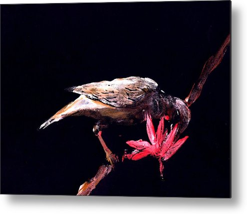 Bird Metal Print featuring the painting Blossom Feeder by Ana Bikic