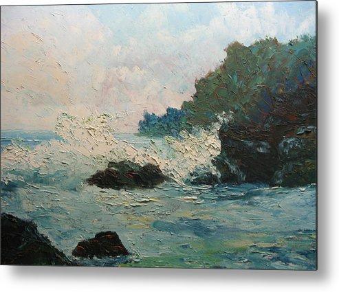 Landscape Metal Print featuring the painting Breaking Waves - Number One by Belinda Consten