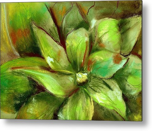 Green Metal Print featuring the painting Bright Agave by Marilyn Barton