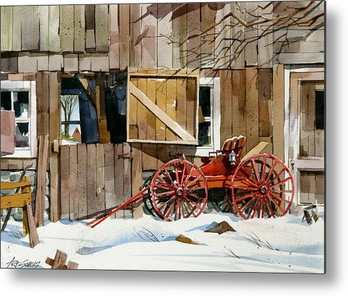 Barn And Wagon Metal Print featuring the painting Buggy 'n Barn by Art Scholz
