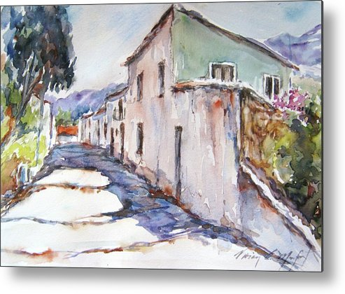 Watercolor Metal Print featuring the painting Camino A La Ermita by Vivian Castillo M