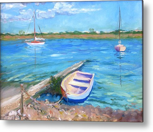Seascape Metal Print featuring the painting Castaway by Pamela Geiger