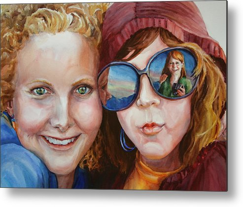 Portrait Metal Print featuring the painting Circle Of Sisters by Carolyn Epperly