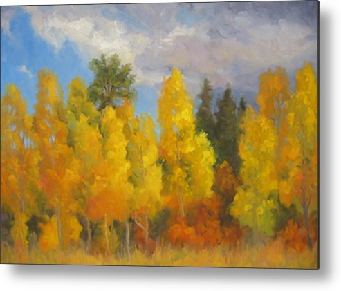 Landscape Metal Print featuring the painting Clouds Of October by Bunny Oliver