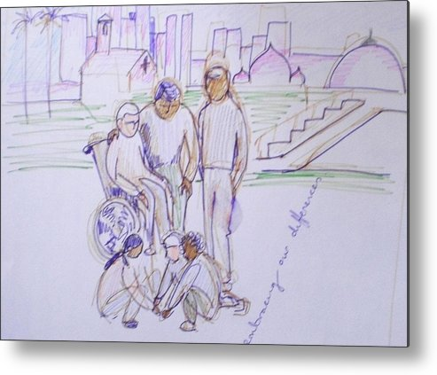 Children Playing Metal Print featuring the drawing Embracingdifferences by Maria Rosaria DAlessio