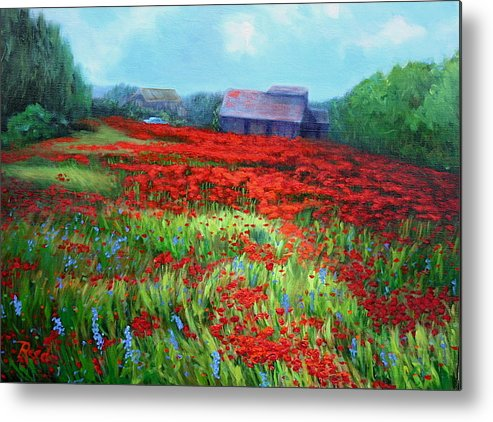 Landscape Metal Print featuring the painting en route to Arles by Patricia Reed