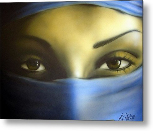 Eyes Portrait Airbrush Metal Print featuring the painting Eyes by Kevin Gallagher