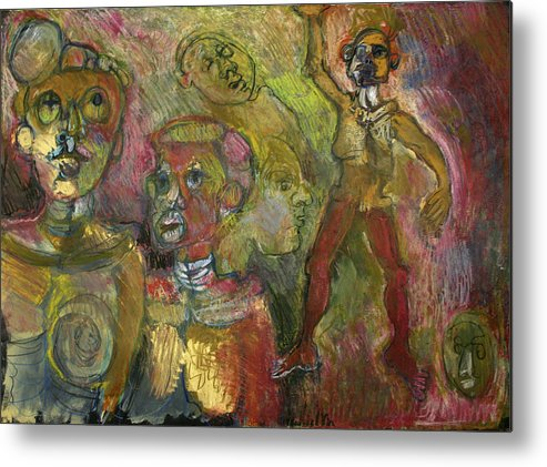 Figures Metal Print featuring the painting Faces by Roberta Malkin