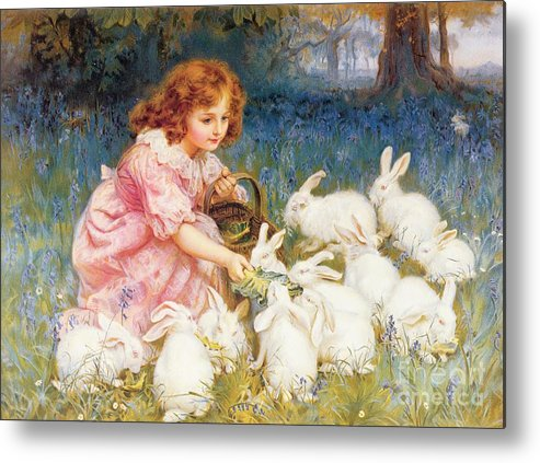 Feeding Metal Print featuring the painting Feeding The Rabbits by Frederick Morgan