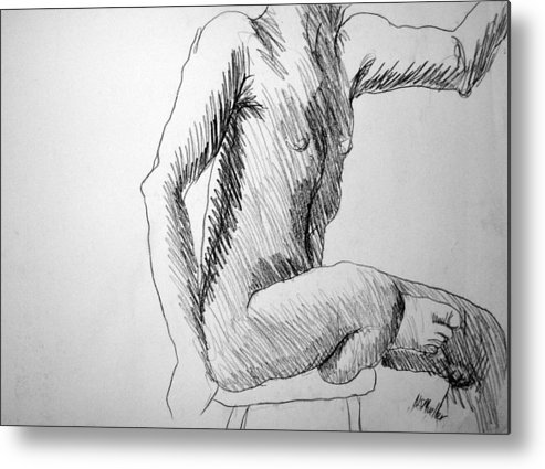 Figure Metal Print featuring the drawing Figure Drawing 3 by Nancy Mueller