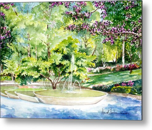 Fountain Metal Print featuring the painting Glencairn Fountain by Anne Rhodes