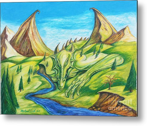 Dragons Landscapes Metal Print featuring the drawing River Rage by Michael Cook