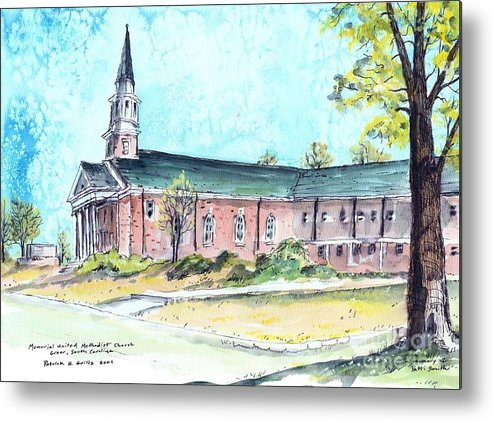 Church Metal Print featuring the painting Greer United Methodist Church by Patrick Grills
