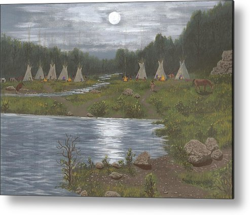 Indians Metal Print featuring the painting Indian Camp by Don Lindemann