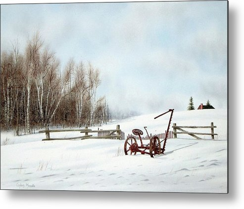 Landscape Metal Print featuring the painting Just Waiting For Spring by Conrad Mieschke