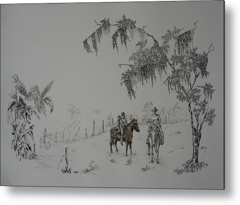 Landscape Metal Print featuring the drawing Leaving Home by Gloria Reyes Diaz
