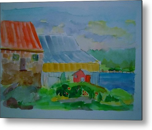 Maine Landscape. Maine Village Metal Print featuring the painting Lubec Fishery by Francine Frank