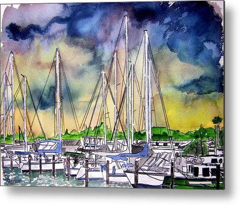 Boat Metal Print featuring the digital art Melbourne Florida Marina by Derek Mccrea