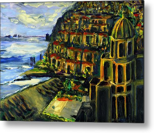 Positano Metal Print featuring the painting Moonlight Over Positano by Randy Sprout