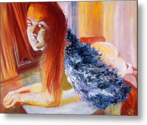 Portrait Metal Print featuring the painting Office Angel II by LB Zaftig