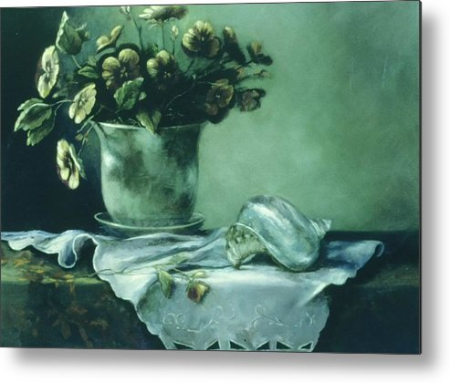 Still Life Pansies Flowers Shell Celadon Metal Print featuring the painting Pansies With Shell by Ruth Stromswold