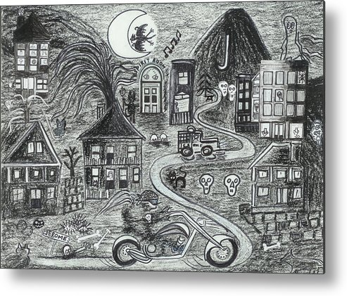 Metal Print featuring the drawing Police On Halloween Night Jerome Az. by Ingrid Szabo
