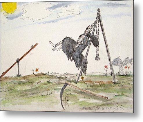 Darkestartist Death Humor Ink Playground Swing Watercolor Watercolour Darkest Artist Pump Harder Seesaw Metal Print featuring the painting Pump Harder Youll Get There by Darkest Artist