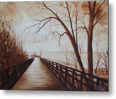 Sepia Watercolour Of Bridge At Waterfront Metal Print featuring the painting Rotary Bridge by Sharon Steinhaus