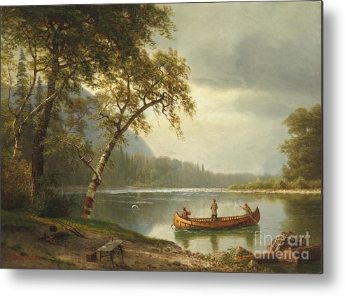 Landscape; Rural; Countryside; Canadian; Fishermen; Boat; Leisure; Calm; Peaceful; Kayak; Camp; Campfire; Fire; Kettle; Scenic; Riverbank Metal Print featuring the painting Salmon Fishing On The Caspapediac River by Albert Bierstadt