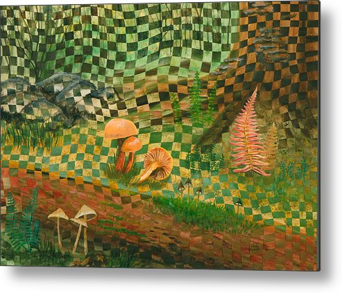 Mushrooms Metal Print featuring the painting Shady Grove by Linda L Doucette
