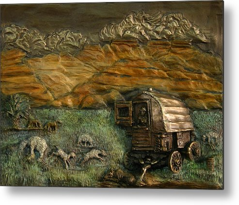 Miniature Metal Print featuring the relief Sheep Herder's Wagon From Snowy Range Life by Dawn Senior-Trask