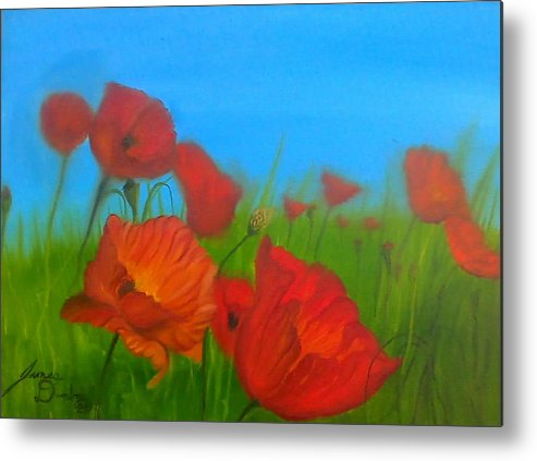Red Impressionism Metal Print featuring the painting Sky Blue Poppies by Portland Art Creations