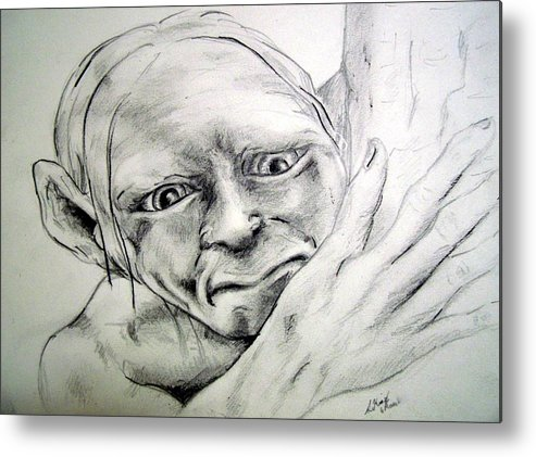 Portraits Metal Print featuring the drawing Smeggle by Lilly King