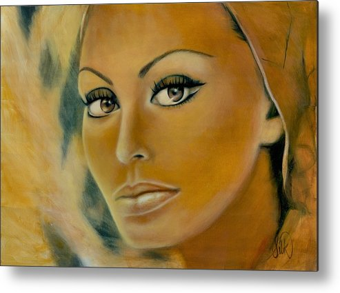 Portrait Metal Print featuring the painting Sophia Loren by Elizabeth Silk